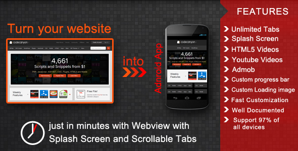 Webview with Splash Screen and Scrollable Tabs